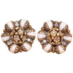 1950's Hobe White Faceted Bead Earrings With Rhinestones