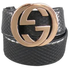 GUCCI Size 36 Black Snake Leather Gold Double G Buckle Belt