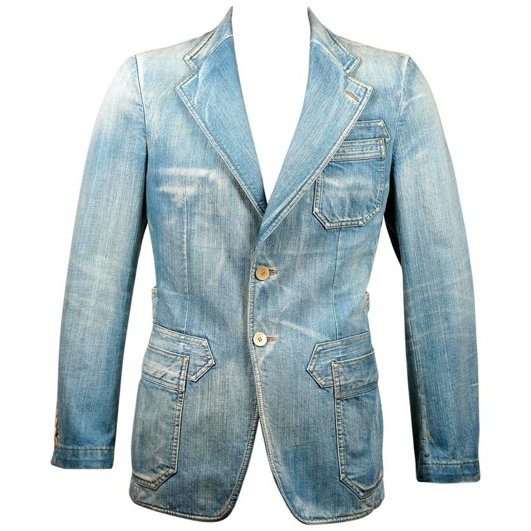 Tom Ford for Gucci Distressed Tailored Denim Jacket 1