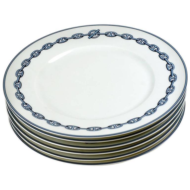 Hermes Chaine d\u0027Ancre Blue Large Dinner Plates Set of Six For Sale  sc 1 st  1stDibs & Hermes Chaine d\u0027Ancre Blue Large Dinner Plates Set of Six at 1stdibs