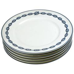 Hermes Chaine d'Ancre Blue Large Dinner Plates, Set of Six