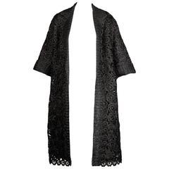 1960s Gino Paoli Vintage Black Raffia Lace Coat