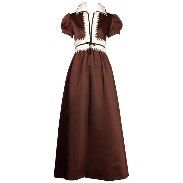 1970s Oscar de la Renta Vintage Brown Satin Maxi Dress For Sale