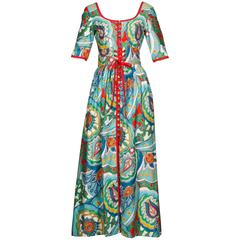 1970s Oscar de la Renta Vintage Paisley Print Maxi Dress + Lace Up Belt