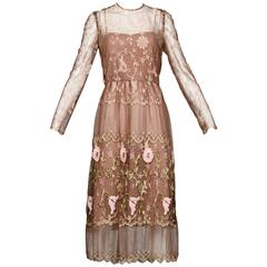 Capriccio Vintage Taupe Embroidered Flower Lace Dress with Scalloped Hem