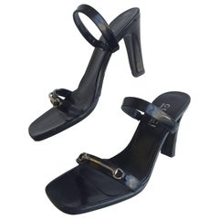 Gucci Black Leather Open Toe Heels with Silver Horsebit