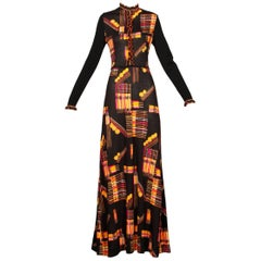1970s Vintage 100% Wool Knit Maxi Dress with Vibrant Mid-Century Print