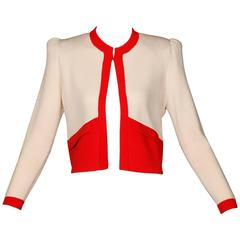 St. John Vintage Red + White Knit Cardigan Sweater Jacket