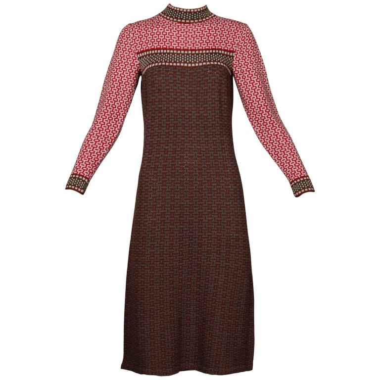 1970s Adolfo Vintage Santana Knit Dress