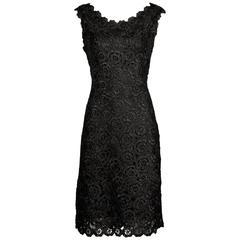 1960s Gino Paoli Vintage Black Raffia Lace Wiggle Dress