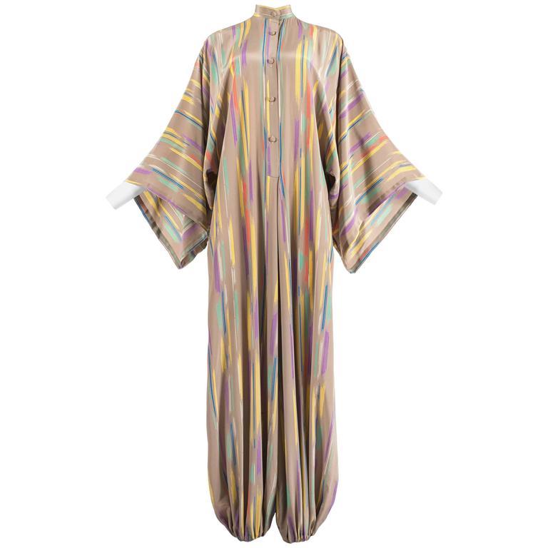 Issey Miyake Autumn-Winter 1976 silk harem jumpsuit with Tadanori Yokoo print 1