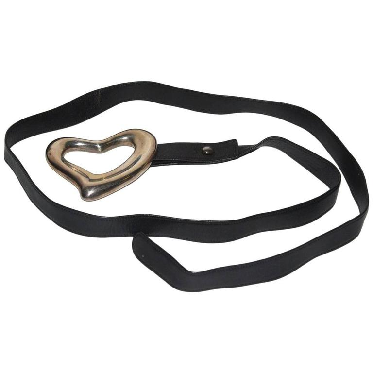 Tiffany Peretti Sterling and Leather open Heart Belt