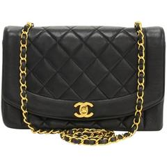 """Chanel 10"""" Diana Classic Black Quilted Leather Shoulder Flap Bag"""