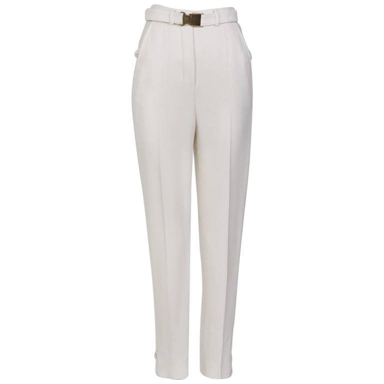 STEFANO PILATI For YSL White Crepe Trouser