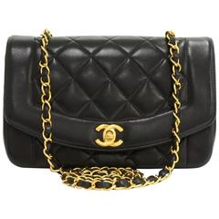 """Chanel 9"""" Diana Classic Black Quilted Leather Shoulder Flap Bag"""