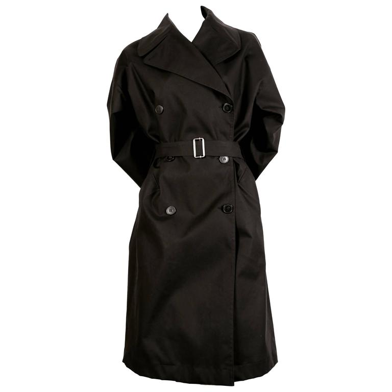 AZZEDINE ALAIA classic black cotton trench coat For Sale