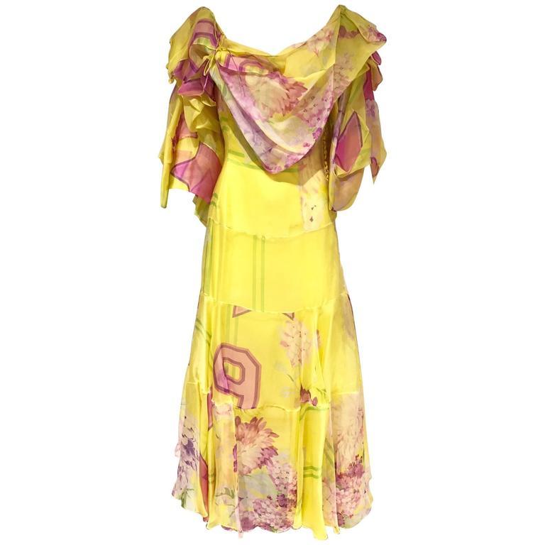 RARE Runway CHRISTIAN DIOR Yellow and Pink Star Print Silk Dress