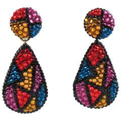 Vintage Richard Kerr Signed Dangle Clip Earrings Multicolor Rhinestones Paved