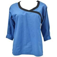 Lanvin 1980s blue cotton top