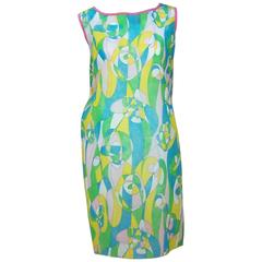 1960's Mod Beau Monde Go Go Blue & Green Paper Dress