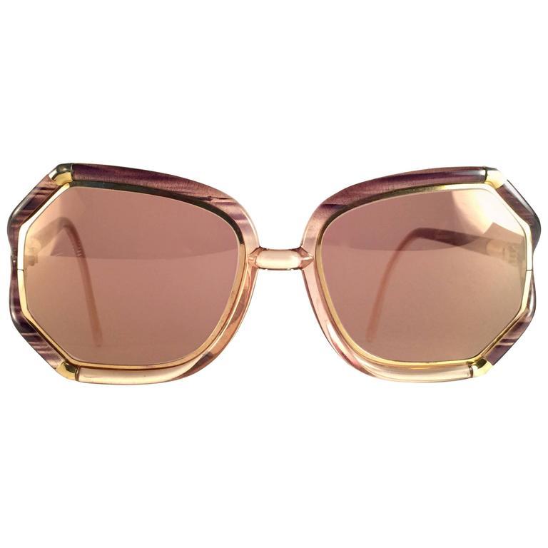 New Vintage Ted Lapidus Paris TL 1042 Brown Stripes & Gold 1970 Sunglasses Franc