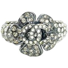 2005 Chanel Rhinestone Flower and Logo Ring