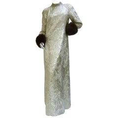 Saks Fifth Avenue Champagne Metallic Brocade Fox Trim Gown ca 1970