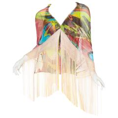 Missoni Runway Fringed Chiffon Scarf Top