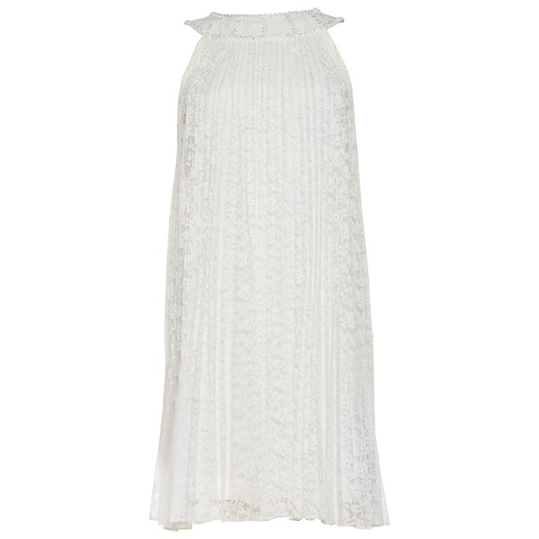 1960s Pleated Lace Mod Swing Dress with Crystals