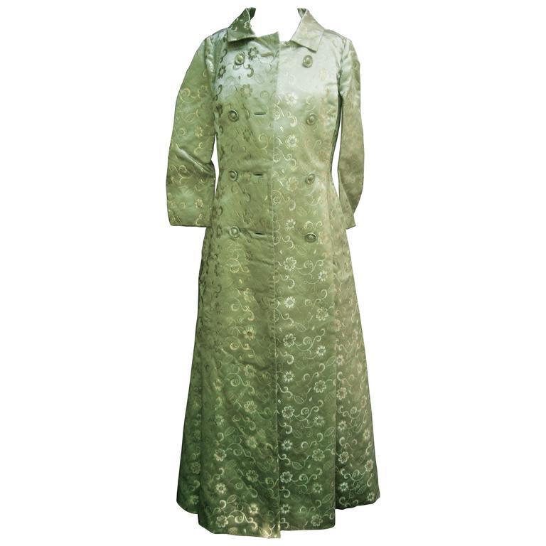 Saks Fifth Avenue Wedding Gowns: Opulent Mint Green Satin Brocade Opera Coat Ensemble For