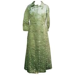 Opulent Mint Green Satin Brocade Opera Coat Ensemble for Saks Fifth Avenue