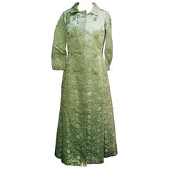 Opulent Mint Green Satin Brocade Opera Coat Ensemble for Saks Fifth Avenue