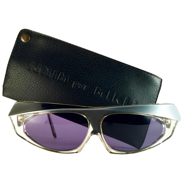 New Vintage Alain Mikli Black Silver & Clear Made in France Sunglasses 1980's