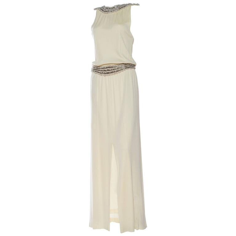 1970s Silk Jersey Gown with Pearl Beading and Slit
