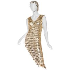 Paco Attributed gold Chain Link Dress
