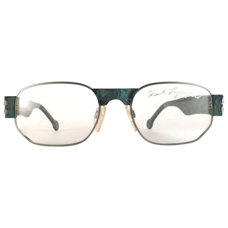 New Vintage Karl Lagerfeld Marbled Green Reading RX Frame 1990's Sunglasses
