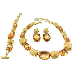 1980s Yves Saint Laurent by Goossens Faux Topaz and Gold-Plated Nugget Set