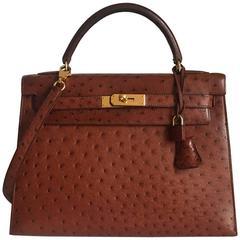 Beautiful Hermes Kelly Bag 2 ways Etrusque Ostrich GHW 32 cm