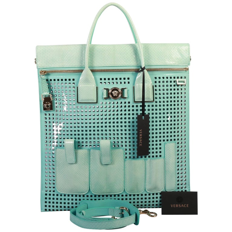 New VERSACE PERFORATED PATENT LEATHER AND SNAKESKIN BAG