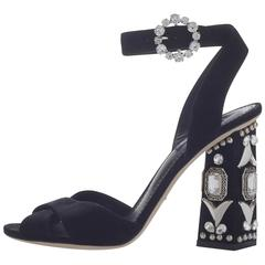 Dolce & Gabbana New Sold Out Black Crystal Evening Sandals Heels in Box