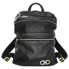 Salvatore Ferragamo Black Nevada Gancini Leather Backpack Bag