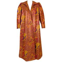 Unlabeled Givenchy Haute Couture Copper Floral Silk Faille Evening Coat
