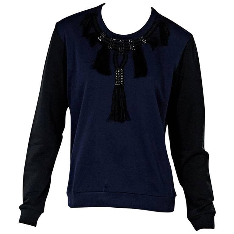 Navy Blue & Black Lanvin Embellished Sweatshirt For Sale