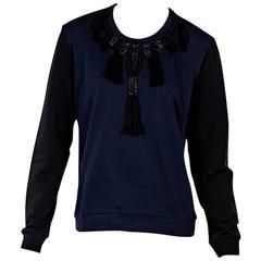 Navy Blue & Black Lanvin Embellished Sweatshirt