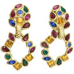 1980s Yves Saint Laurent Colourful Crystal Embellished Gilt Dangling Earrings