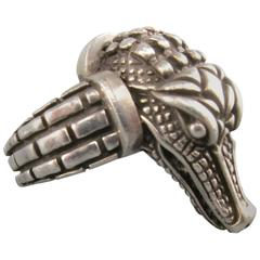 Vintage KIESELSTEIN-CORD Size 9 Sterling Silver Alligator Head Ring 1998