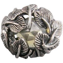 UGO CACCIATORI Size 8 Yellow Gem & Sterling Silver Foliage Ring