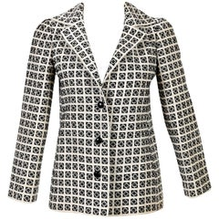 1960s Tiziani Couture by Karl Lagerfeld Black and Ivory Needlepoint Mod Jacket