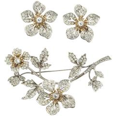 Serling Floral Tremblant Pin with Earrings