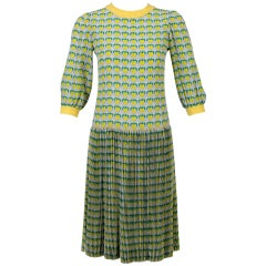 Rare 1960s Tiziani Couture by Karl Lagerfeld Lemon Silk Print Dress and Vest Set